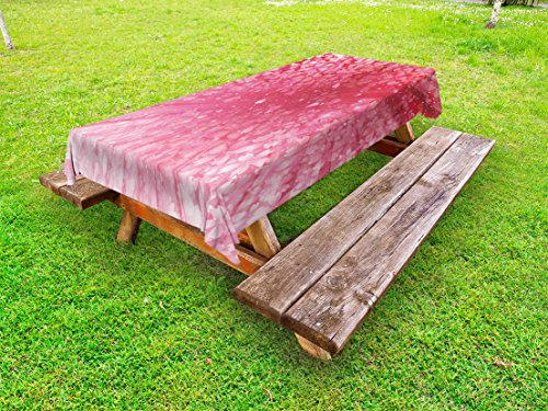 Lunarable Nature Outdoor Tablecloth, Cherry Blossoms Petals on Abstract Sun Rays Springtime in Japan Artwork Print, Decorative Washable Picnic Table Cloth, 58 X 104 Inches, Pink Red White - Springtime Japan