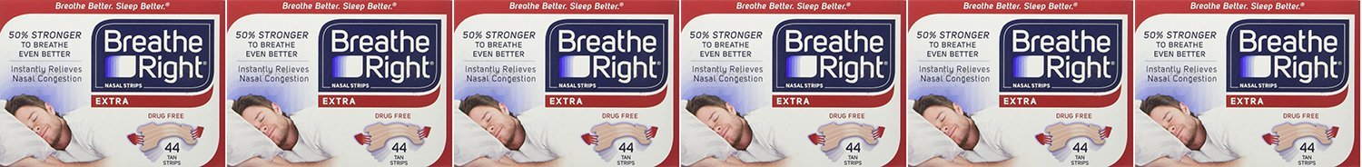 Breathe Right, Extra Strong Nasal Strips One Size Fits All 44 Count Gxswc (Pack of 6)