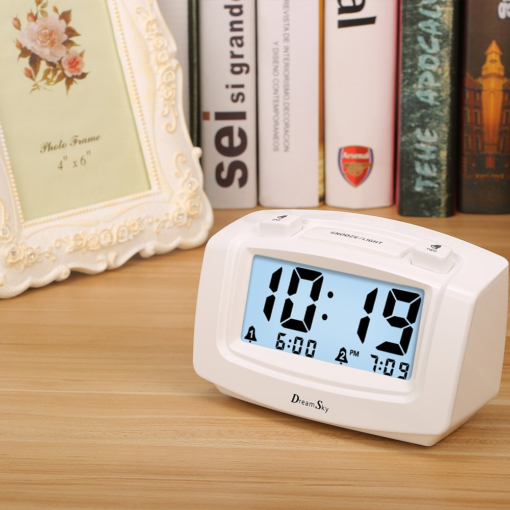 DreamSky Dual Alarm Clock with Smart Adjustable Nightlight, Snooze, Large LCD Display, Portable Battery Operated, Ascending Alarms Sound, Simple Operate Clock for Bedroom Kids by DreamSky (Image #7)
