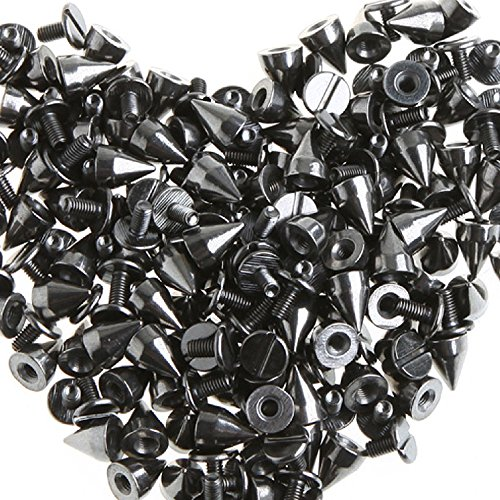 (RUBYCA 100 sets 9MM Black Gunmetal Color Bullet Cone Spike Stud Metal Screw Back DIY Leather-craft)