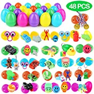 YEAHBEER 48 Pack Toys Filled Easter Eggs, Prefilled Plastic Eggs with Small Toys Inside, for Easter Party Favors, Easter Egg