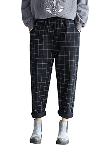 ELLAZHU Women Casual Insert Pockets Plaid Printed Harem Pants Trousers GA551