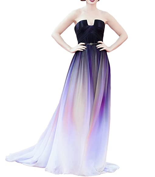 Womens A-line Belt Gradient Ombre Evening Dress Plus Size Long Prom Gowns Bridemaid Dress