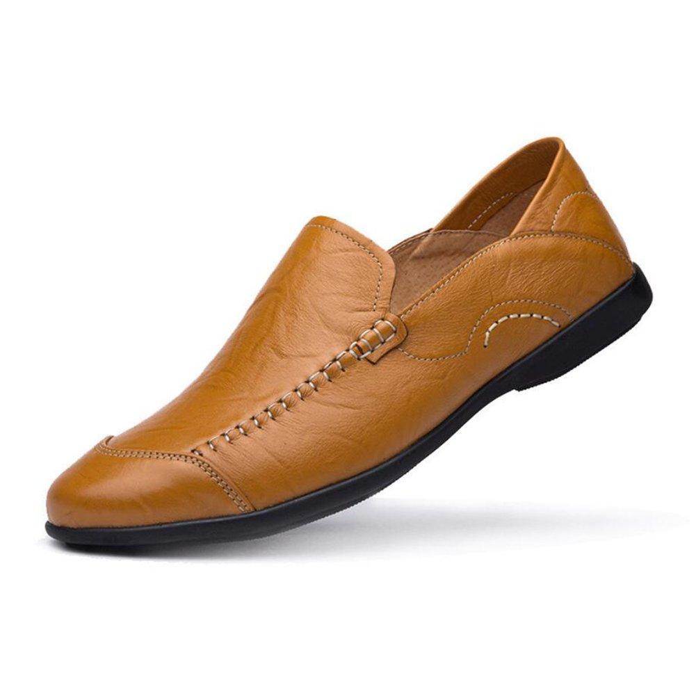 CAI Herrenschuhe 2018 Frühling Herbst Mann Leder Trend British LUN Low-Cut-Fahren Schuhe weiche Oberfläche weichen Boden Loafers & Slip-Ons (Farbe   001, Größe   39)