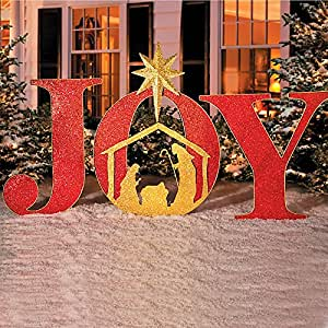 Joy metal christmas yard decor home kitchen for Amazon christmas lawn decorations