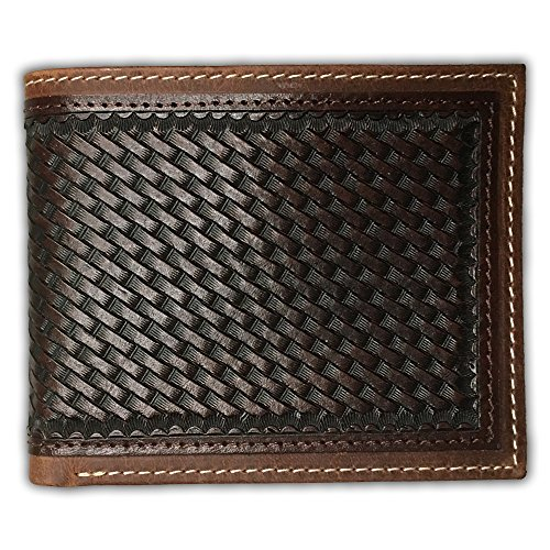 Ranger Belt Company Brown Bifold Basketweave Pattern Leather Wallet - C522B