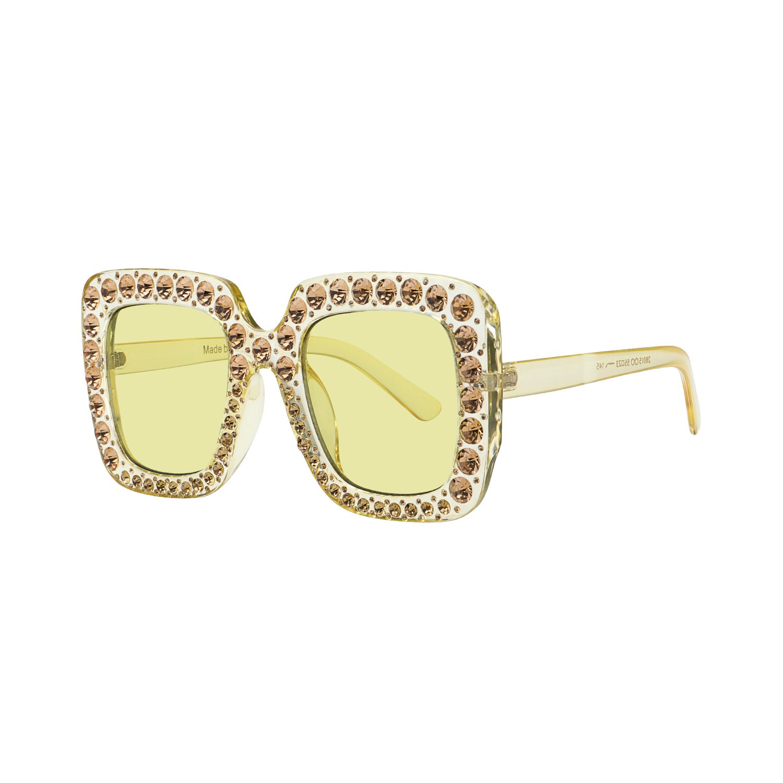 49449c0c577 Galleon - ROYAL GIRL Sunglasses Women Oversized Square Crystal Brand  Designer Shades (Yellow-Yellow Lens