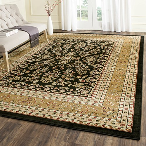 Safavieh Lyndhurst Collection LNH331D Traditional Oriental Black and Tan Area Rug (8' x (Blue Floral Vines Rectangle Rug)