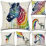 Calcifer 18 x 18 Inch (45x45cm) Rainbow Animals Durable Cotton Linen Throw Pillows Sheel Case Cushion Covers For Home Sofa Decorative (Set of 6)