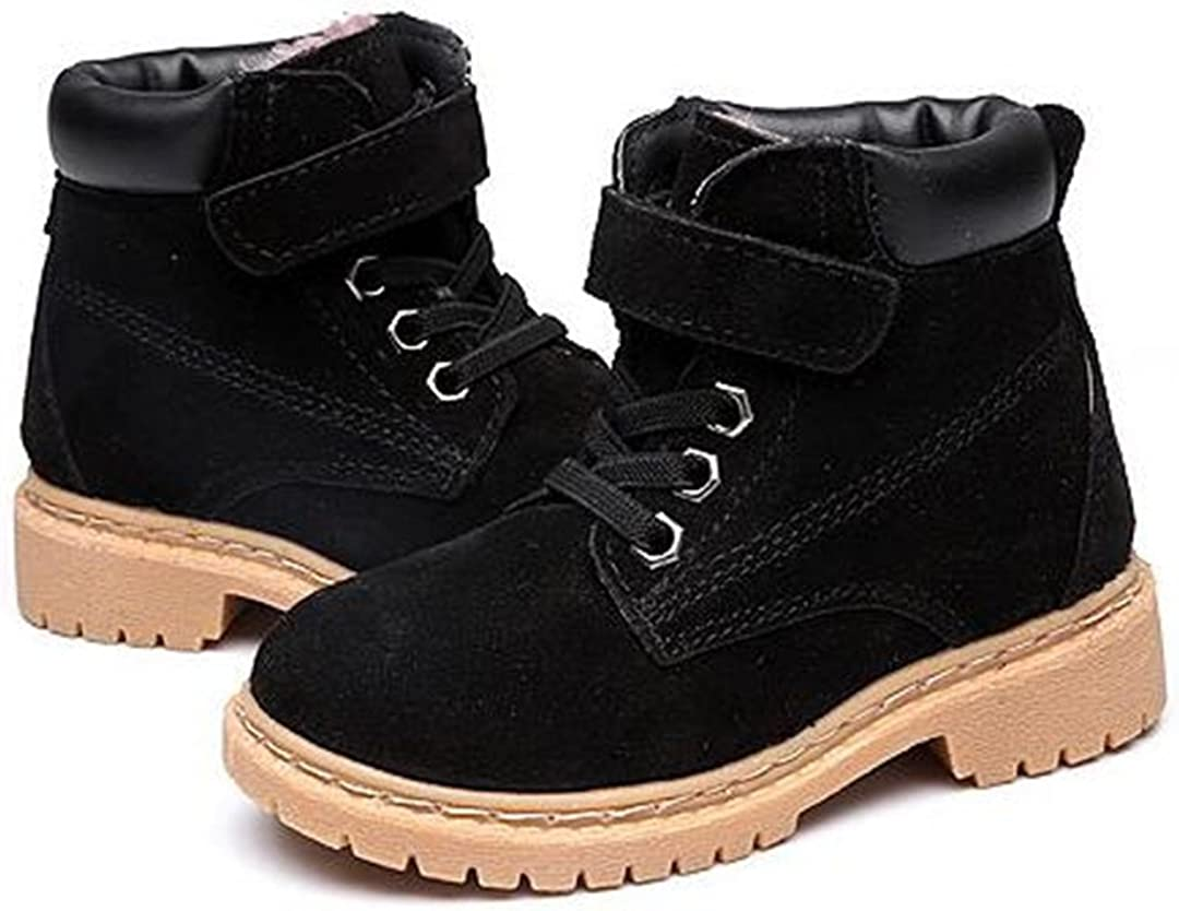 Bumud Kids Round Toe Military Lace Up Ankle Cuff Low Heel Combat Boots