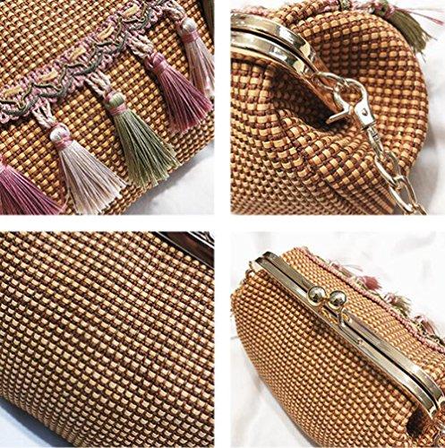 Bag Fringed Small LXYIUN Square Fashion Summer Buckle Lady Straw Diagonal Bag Straw Beach Bag Package tIwHRq