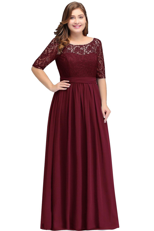 Babyonlinedress Womens Plus Size Chiffon Bridesmaid Dresses Sleeve Burgundy  14W