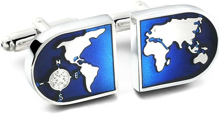 Compass Really Works Pair Cufflinks Wedding Fancy Gift Box /& Polishing Cloth