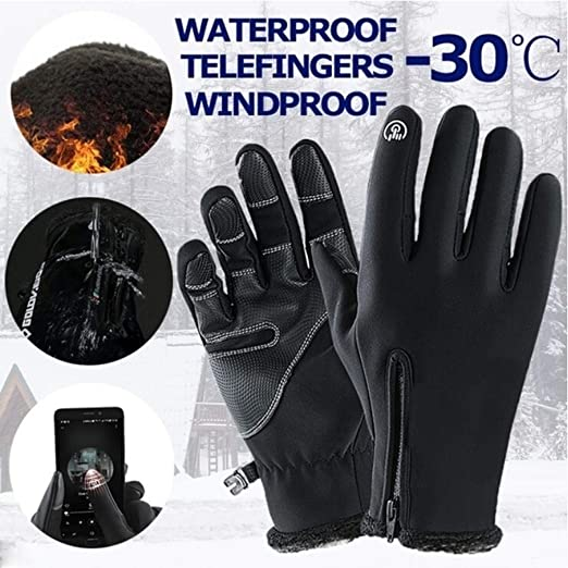 Women Mens Classic Winter Leather Gloves Mittens Driving Touchscreen Gloves Waterproof
