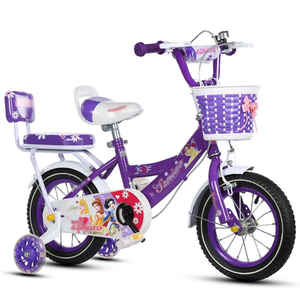 HAIZHEN マウンテンバイク 子供用自転車 トレーニングホイール付きの少年の自転車と少女の自転車 12インチ、14インチ、16インチ、18インチ 子供用ギフト 新生児 B07CCK4YCM 12インチ|パープル ぱ゜ぷる パープル ぱ゜ぷる 12インチ