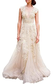Ruolai ASA Bridal Womens Vintage Cap Sleeve Lace Wedding Dress A Line Evening Gown