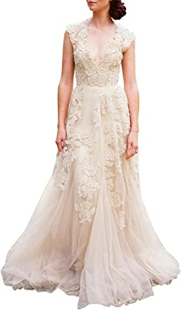 Amazon Com V Neckline Tulle And Lace Wedding Dresses Key Hole