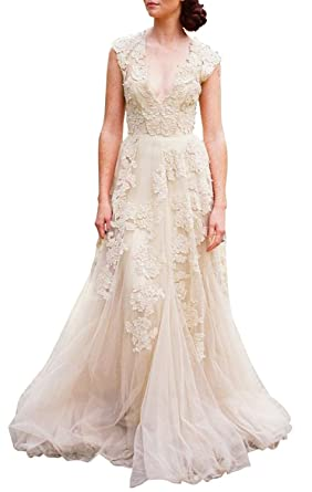 Ruolai Asa Bridal Womens Vintage Cap Sleeve Lace A Line Wedding Dresses Gowns Champagne 2