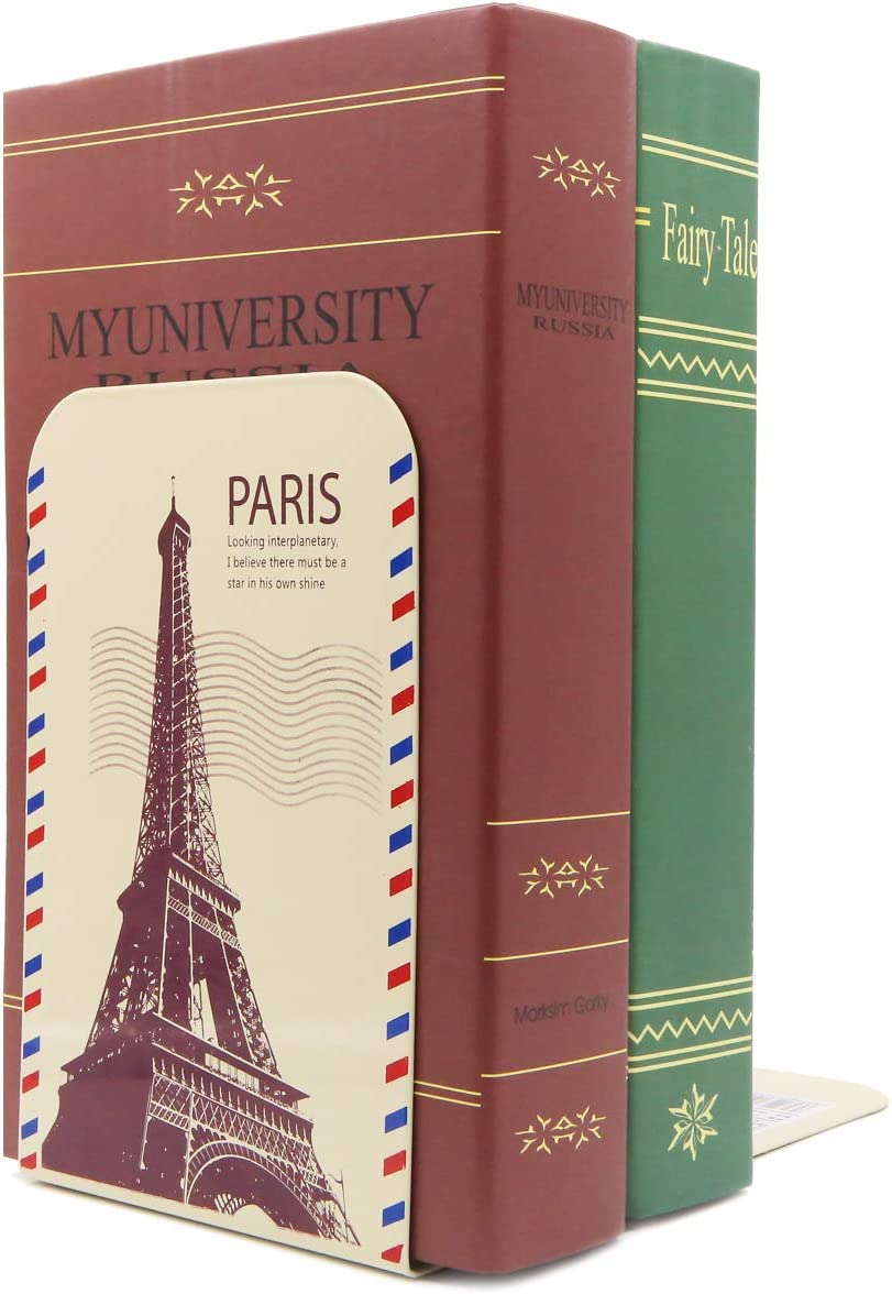 Eiffel Tower Vintage Classic European Style Famous Buildings Metal Bookends Books Organizer Book Ends for Kids School Library Study Home Office Decoration Gift