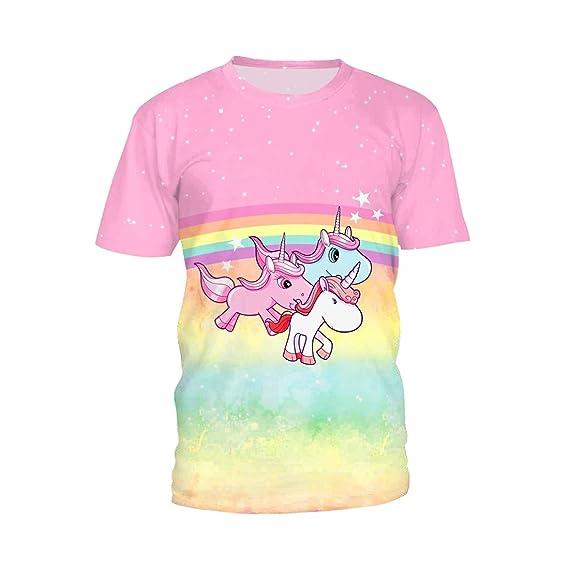 SEVENWELL Unisex Digital Impresa Camisas Divertido Encantador Unicornio Patrón Tee Tops Manga Corta: Amazon.es: Ropa y accesorios