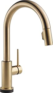 Delta Faucet Trinsic VoiceIQ Single-Handle Touch Kitchen Sink Faucet with Pull Down Sprayer, Alexa and Google Assistant Voice Activated, Smart Home, Champagne Bronze 9159TV-CZ-DST