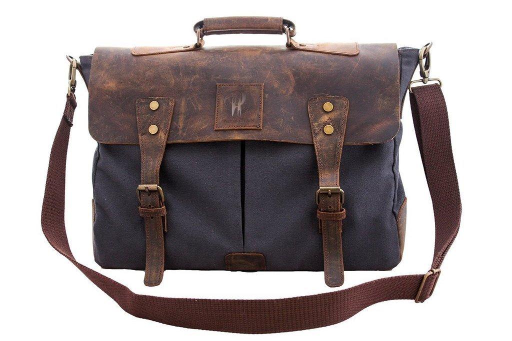 TUZECH Genuine Leather Vintage 16'' Laptop Canvas Messenger Satchel Briefcase Bag (GREY)