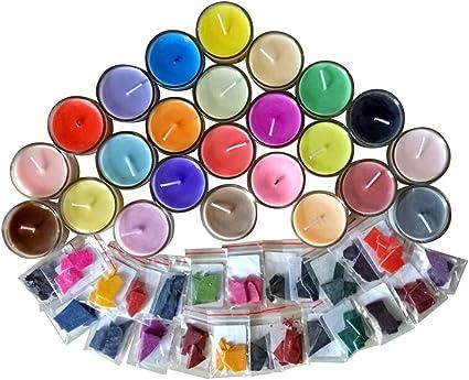 Tinte para velas, 24 colores de tinte de cera para hacer velas, tintes de velas de soja naturales para enmascarar velas aromáticas, 2 g de cada color ...