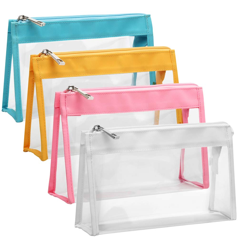 Clear Cosmetic Bag, iSPECLE 4 Pack Clear Toiletry Bag for Cosmetics, Travel, Women, Girls White Yellow Pink Light Blue
