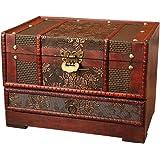 صندوق تخزين مجوهرات خشبي عتيق من توباثي مع مرآة كنز صناديق تذكارية صناديق تخزين عتيقة على الطراز الصيني القديم منظم…