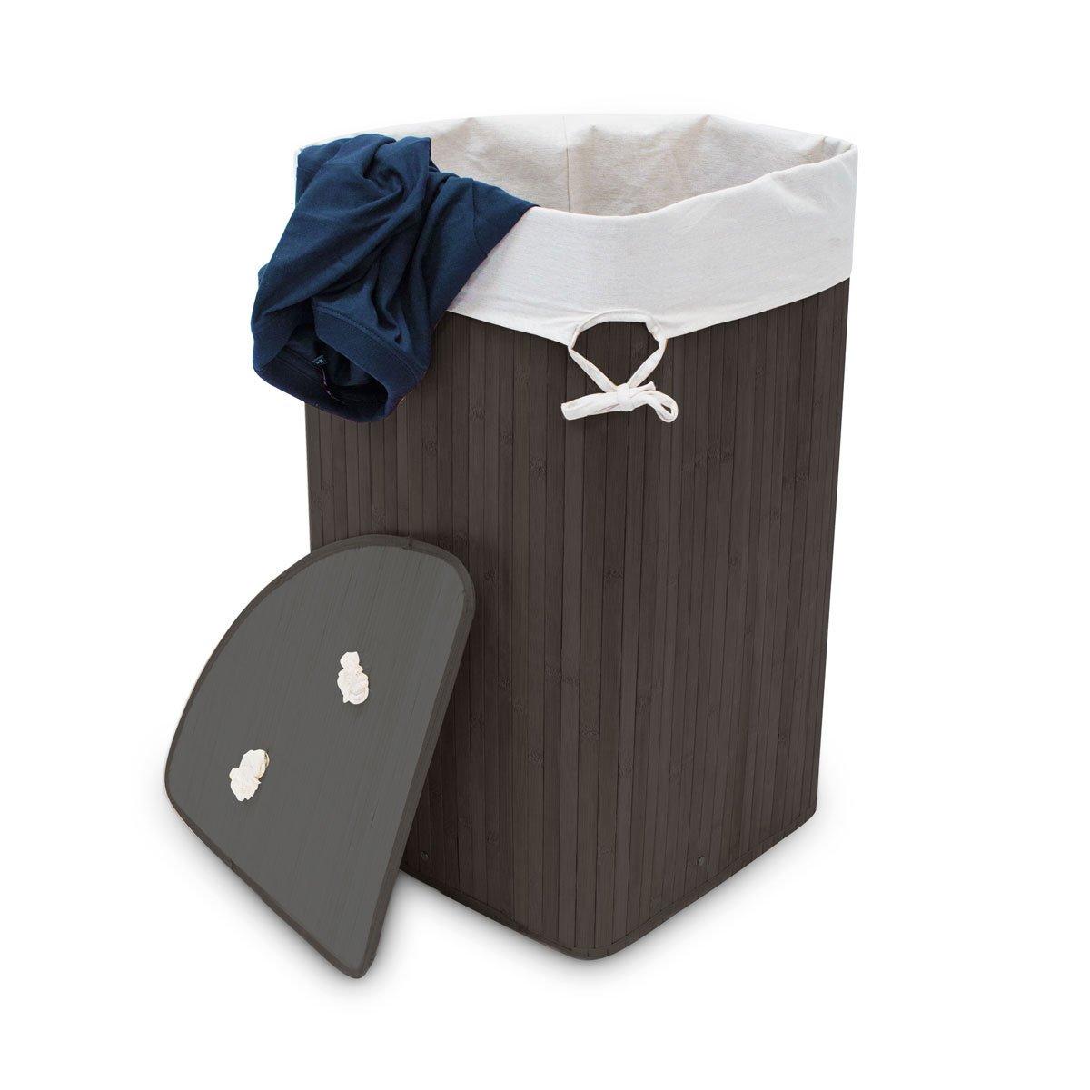 65 x 49.5 x 37 cm Folding Hamper with Laundry Sack 64L Black Relaxdays Bamboo Corner Laundry Basket