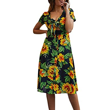 185a1dbbc2 Gooldu Women Summer Casual V-Neck Maternity Skirt Beach Print Maxi Dress  Dark Blue