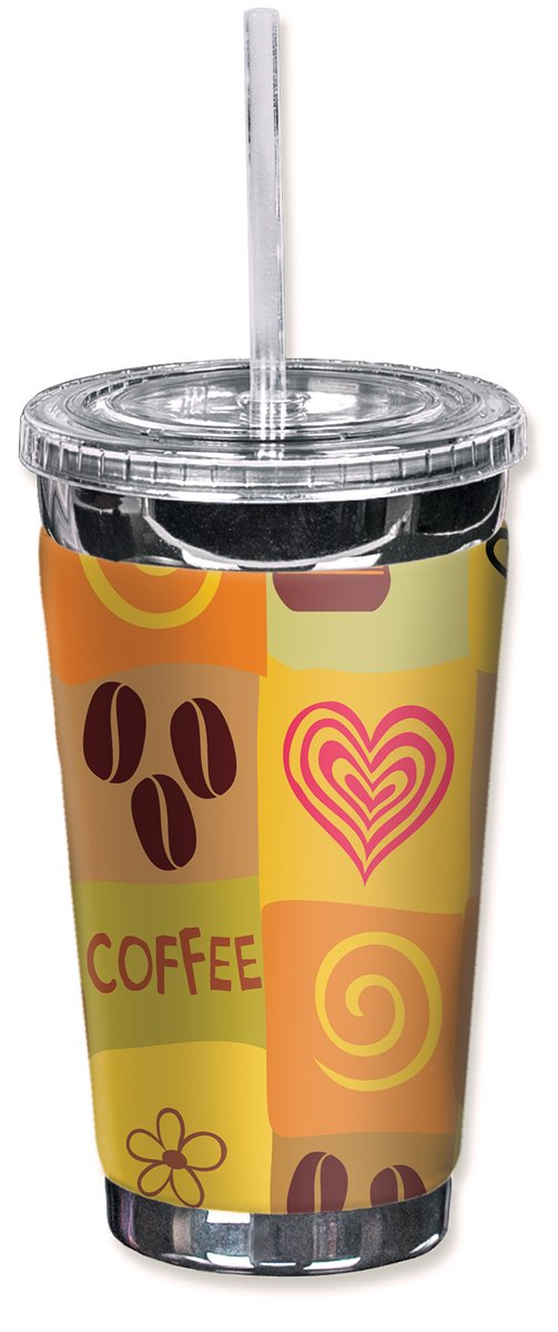 Mugzie brand 16-Ounce To Go Tumbler with Insulated Wetsuit Cover - I Love Coffee