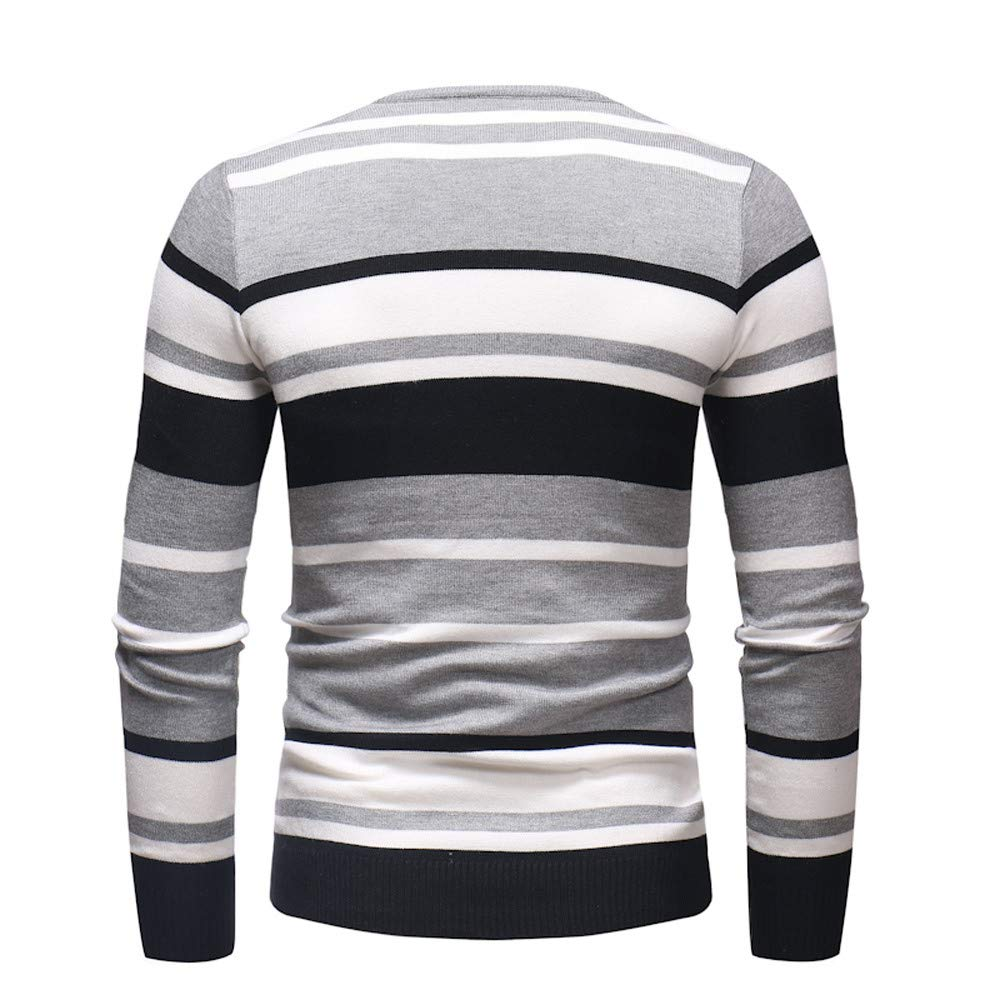 Dacawin Fashion Casual Men's Long Sleeve Stripe Slim Comfort Sweater Pullover Jumper Knitwear Blouse by Dacawin (Image #3)