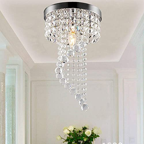 Iusun 7.9 Crystal Spiral Chandelier Ceiling Lamp, Modern Pendeant LED Light for Home Holiday Party Decor – Ship From USA white