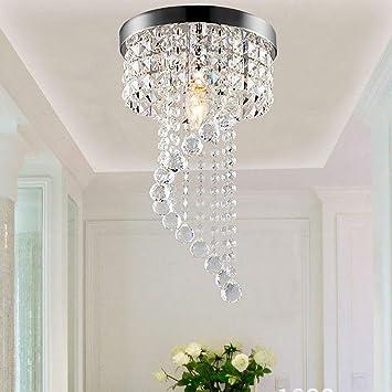 Iusun Lámpara de techo de cristal en espiral de 19 cm ...