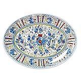 """Le Cadeaux Rooster Coupe Oval Platter, 16"""", Blue"""