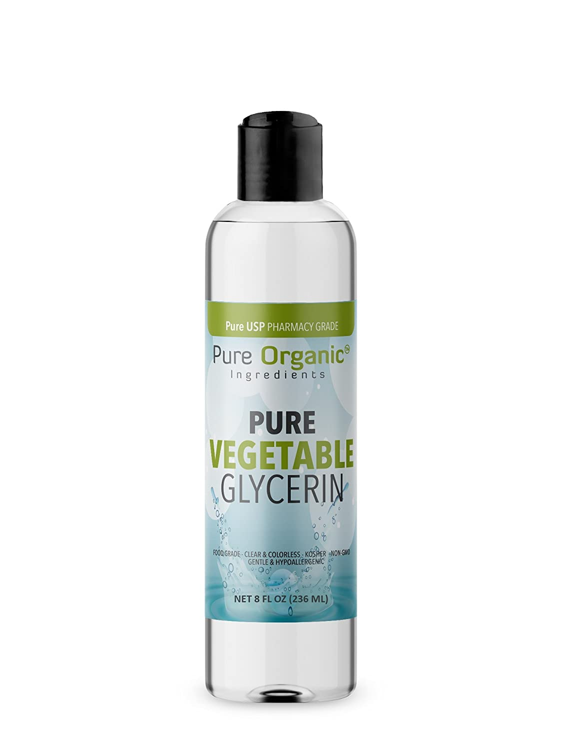 Vegetable Glycerin (8 oz.) by Pure Organic Ingredients, Food & USP Pharmaceutical Grade, Kosher, Vegan, Hypoallergenic Moisturizer And Skin Cleanser