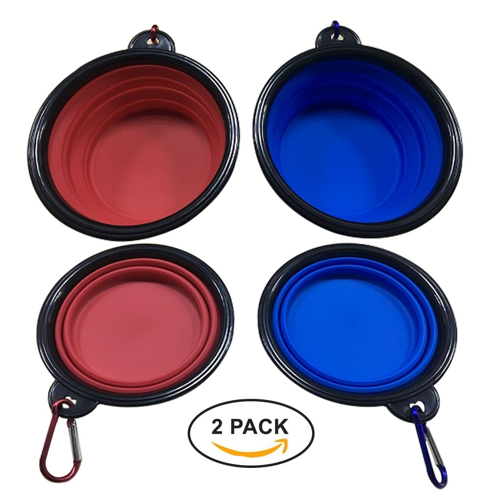 KIO Collapsible Pet Food Bowls for Traveling Silicone Pet Food Bowls Created with Food Grade Silicone, BPA Free | Take Your Pet's Food, Water with You Anywhere | Travel Pet Bowl Set for Small/Med