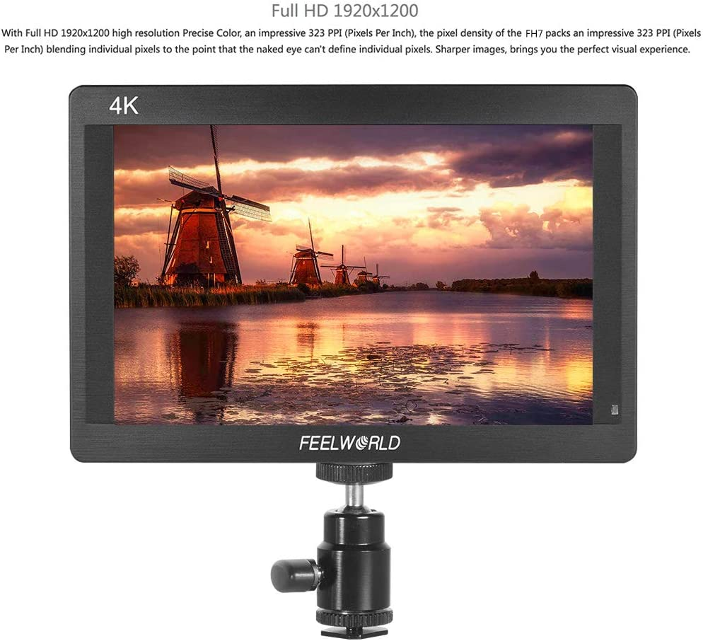 Feelworld FH7 - Pantalla IPS LCD de 7 pulgadas 1920 x 1200 Full HD para monitor de cámara compatible con salida de entrada 4K HD 1200:1 Contraste 450cd/m2 Brillo 160° Amplio ángulo
