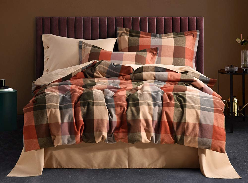UFO Home 300 Thread Count 100% Yarn-Dyed Cotton Flannel Colorful Plaid Pattern Button Close No Inside Filler 3pc Duvet Cover Set Full/Queen/King Size (Carlson, King Size)