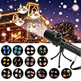 Handheld Projector Lights, LED Christmas Projector Lights with 14pcs Switchable Film Slides, 2 in 1 Portable Handheld Flashlight & Decoration Light Show for Home, Party, Christmas, Birthday, Halloween