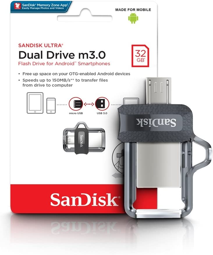 Memoria flash USB SanDisk Ultra Dual m3.0 de 32 GB con USB 3.0 y hasta 150 MB/s