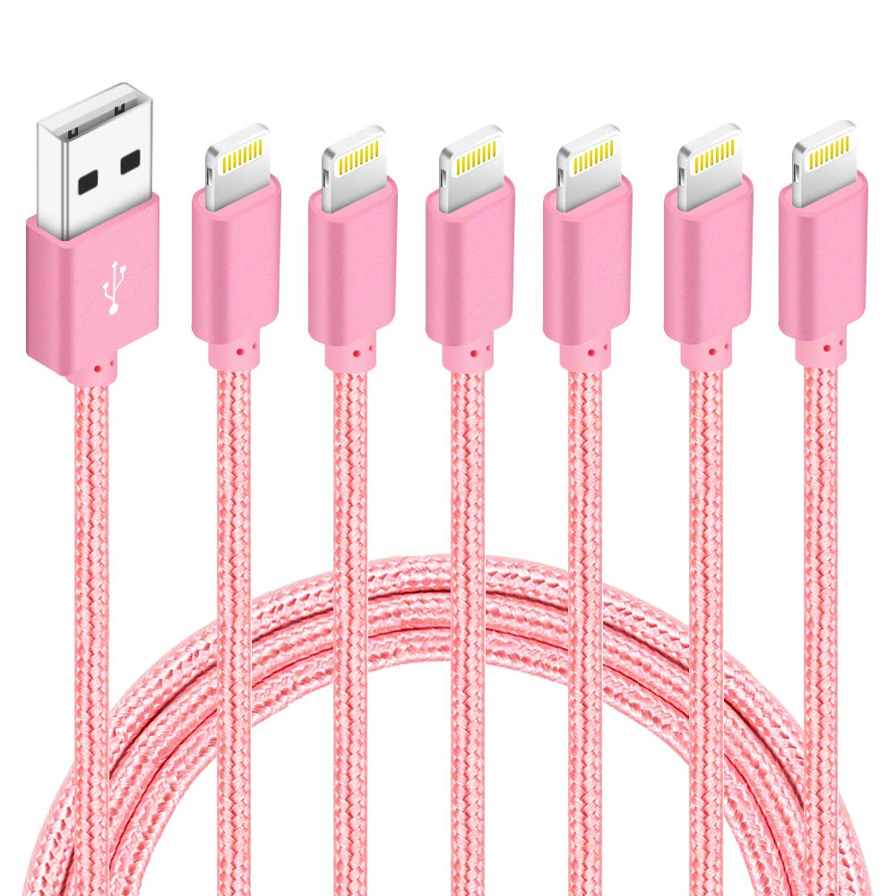 6 Pack(3ft,3ft,6ft,6ft,10ft,10ft) Certified iPhone Charger Lightning Cable High Speed Nylon Braided USB Fast Charging&Data Syncs Cord Compatible iPhone 11 Pro Xs MAX XR 8 8 Plus 7 7 Plus 6s (Rose)