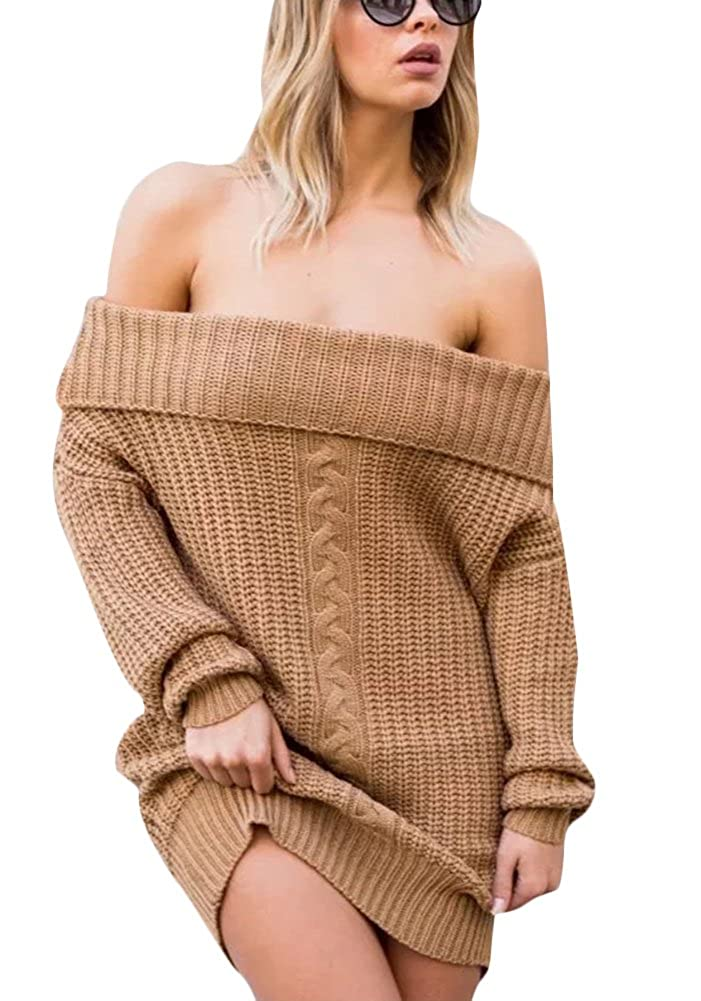 Amazon.com  Women s Oversized Off Shoulder Sweater Pullover Loose Long Cable  Knit Sweater Dress Khaki  Cell Phones   Accessories 7e28d37b4
