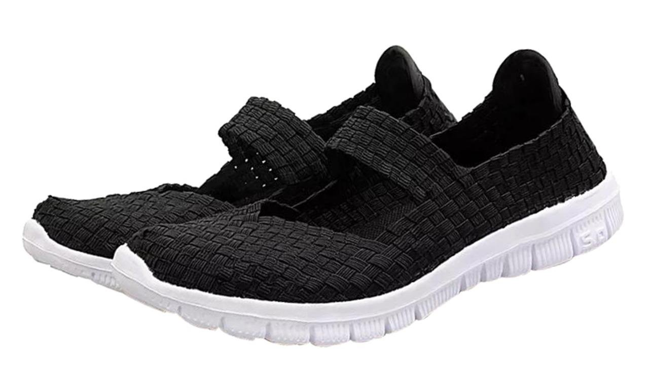 CAMSSOO Women's Woven Stretch Mesh Loafers Fashion Sneakers Breathable Slip-on Walking Shoes All Black Size US7 EU38