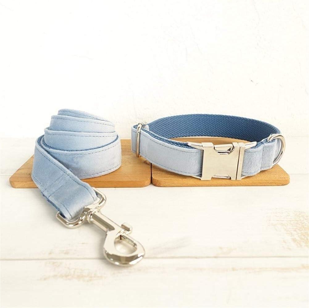 より耐久性があり 犬の首輪巾着セット調節可能な厚いベルベットペットネックネクタイ 簡単な操作 (Color : Blue thick velvet, Size : Customized)