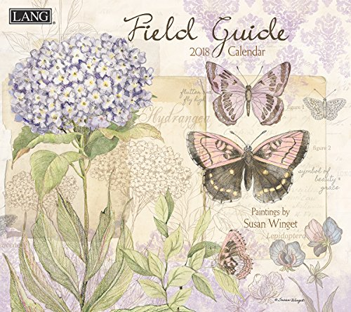 "LANG - 2018 Wall Calendar - ""Field Guide"" - Artwork by Susan Winget - 12 Month - Open Size, 13 3/8"" X 24"""