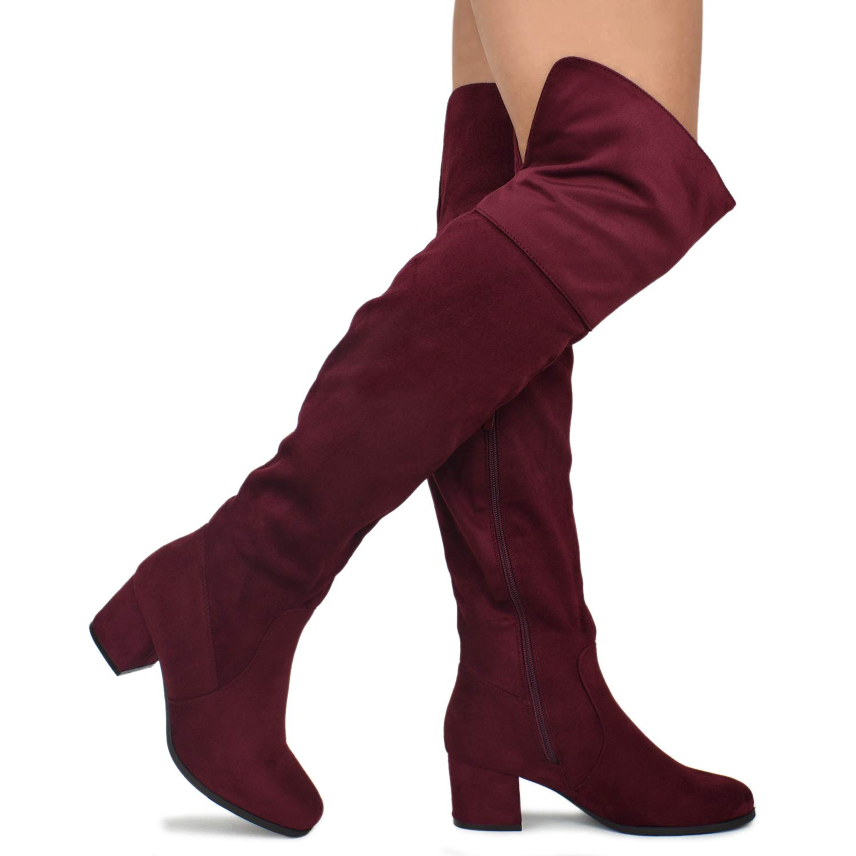 30ad0019550c Amazon.com   Premier Standard Women's Over The Knee Stretch Boot - Trendy  Low Block Heel Shoe - Sexy Over The Knee Boot - Easy Heel Boot    Over-the-Knee