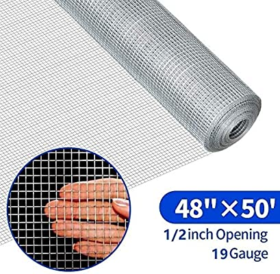 Amagabeli 20in X 82ft Hardware Cloth 1//2in Square Mesh Hardware Cloth Hot-dipped Galvanized Welded Wire Mesh Fencing Wire Diameter 0.7mm Wire Chicken Coop for Vegetables Garden Fruits Animal Enclosure
