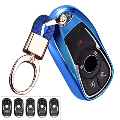 Royalfox(TM) Luxury 2 3 4 5 Buttons TPU Smart keyless Entry Remote Key Fob case Cover for Buick Verano Regal Lacross Encore Envision Enclave GL8 2015 2016 2020 2020 Accessories,with Keychain (Blue)